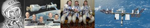 """Слева направо: Гагарин, экипаж первого совместного космического полета """"Союз-Аполлон"""", первый экипаж МКС, МКС сегодня"""